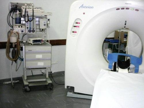 Aparelho de Tomografia de ultima geração que permite cerca de 600 exames/mês.